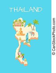 Thailand Island Isolated on Azure Background.