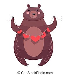 Valentine Teddy Bear with Necklace of Hearts Vector - Bear...