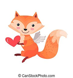 Fox with Angel Wings Holds Heart in Paws Isolated - Fox with...