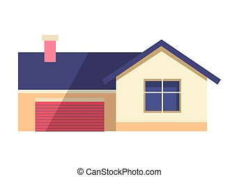 House Vector Illustration in Flat. Country Cottage
