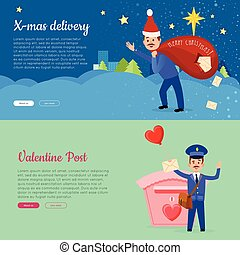 Xmas Delivery and Valentine Post Banner with Postman