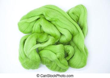 Lawn green piece of Australian sheep wool Merino breed...