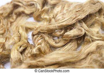 Saffron piece of Australian sheep wool Merino breed close-up...