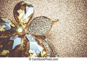 Golden Flower Shaped Brooch - Brooch in a shape of a flower...