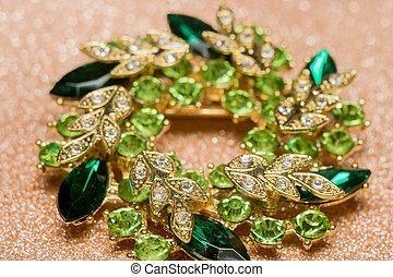 Green Flower Shaped Brooch - Brooch in a shape of a flower...