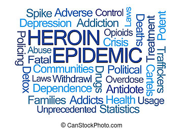 Heroin Epidemic Word Cloud on White Background