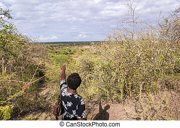 African woman pointing ahead to undeveloped countryside,...