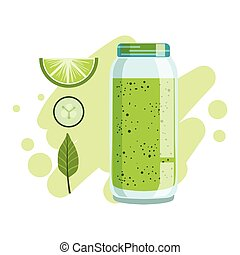 Lime And Cucumber Smoothie, Non-Alcoholic Fresh Cocktail In...