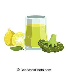 Broccoli And Lemon Smoothie, Non-Alcoholic Fresh Cocktail In...