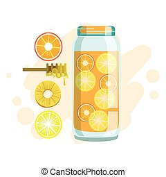 Citrus, Pineapple And Honey Smoothie, Non-Alcoholic Fresh...