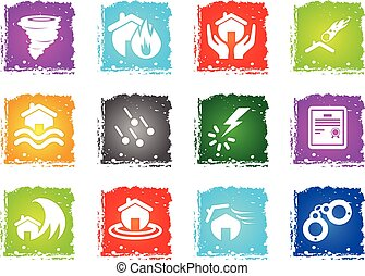 Home Insurance Icons - Home Insurance simply symbols in...