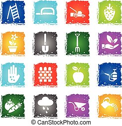 gardening icon set - gardening web icons in grunge style for...