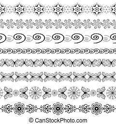 Black and white seamless borders (vector)