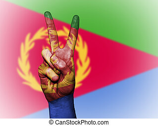 Peace Symbol with National Flag of Eritrea - Hand showing...