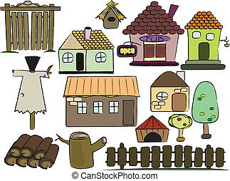 farm staff - cartoon vector illustration set of country...