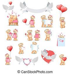 Cute Teddy Bear Decorative Collection on White - Teddy Bears...