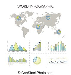 World Infographics Vector with Graphs and Diagrams - World...