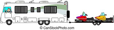 Motorhome towing snowmobiles - Illustration of a man driving...