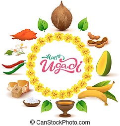 Happy Ugadi lettering text. Set of accessories food....