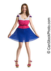 young beautiful happy woman in colored dress isolated