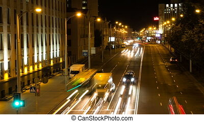 Cars traffic road. Zoom out, time-lapse shot - Cars traffic...