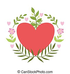 Red Hart Framed With Plants And Flowers Vector Sticker,...