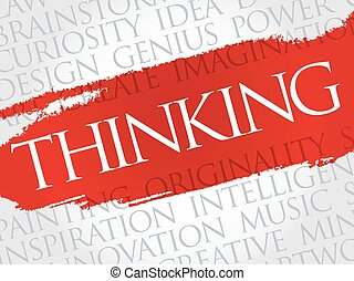 Thinking word cloud collage, creative business concept...