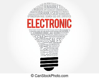 ELECTRONIC bulb word cloud collage