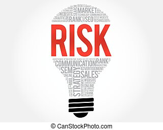 RISK bulb word cloud collage, business concept background