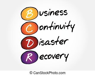 BCDR - Business Continuity Disaster Recovery, acronym...