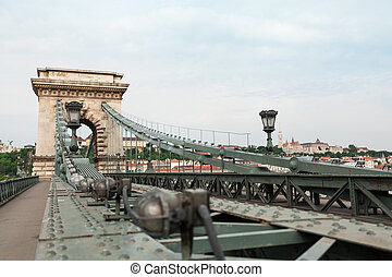 Szechenyi Chain Bridge in beautiful Budapest. Hungary. -...