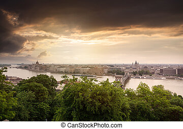 Panoramic view of Budapest from the Buda coast. View of St....