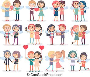 Couples on Valentine s Day on White Background - Couples on...