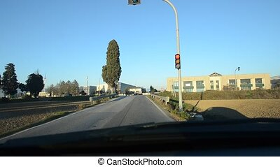 Road intersection with red light - View of road intersection...