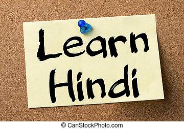 Learn Hindi - adhesive label pinned on bulletin board -...