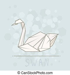 Vector illustration paper origami of swan. - Vector simple...