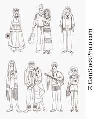 Set of various hippie people in different clothes on white...