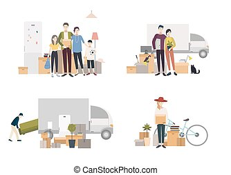 People moving into a new house with things. Set of images in flat style.