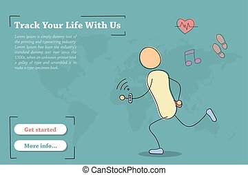 Banner template for Track Your Life With Us - Vector hand...