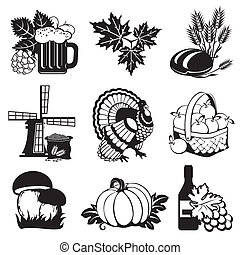 autumn icons - set of vector silhouette images of fall...