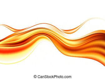liquid gold - orange abstract waves on white background