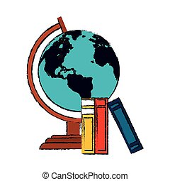earth planet icon - earth planet and books icon over white...