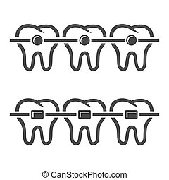 Teeth Braces Icons Set on White Background. Vector...