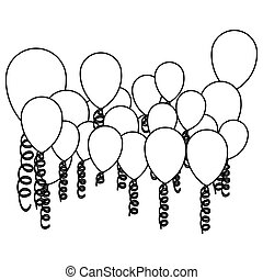 figure colored party balloon with serpentine icon, vector...