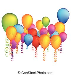 colored party balloon with serpentine icon, vector...