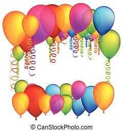 colored many party balloon with serpentine icon, vector...
