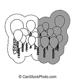 contour colored party balloon with serpentine icon, vector...