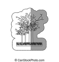 contour leafless trees icon, vector illustraction design...