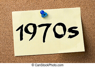 1970s - adhesive label pinned on bulletin board - horizontal...