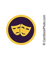 Theater happy and sad masks isolated on white background. Vector illustration